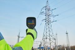 Ispezione di registrazione di immagini termiche dell'attrezzatura di energia elettrica immagine stock