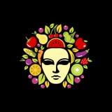 Ispirazione capa di progettazione della medusa Colourful, ispirazione di progettazione di logo della medusa illustrazione di stock