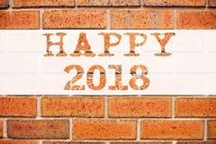 Ispirazione concettuale di titolo del testo di annuncio che mostra 2018 felice Concetto di affari per la celebrazione di festa sc Immagine Stock