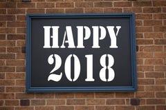 Ispirazione concettuale di titolo del testo di scrittura della mano che mostra ad annuncio 2018 felice Concetto di affari per la  Immagini Stock Libere da Diritti