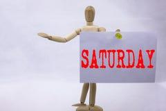 Ispirazione concettuale di titolo del testo di scrittura della mano che mostra concetto di affari di sabato per il fine settimana Immagine Stock Libera da Diritti