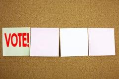 Ispirazione concettuale di titolo del testo di scrittura della mano che mostra concetto di affari di voto per il voto del voto el Fotografia Stock Libera da Diritti