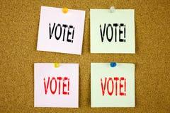 Ispirazione concettuale di titolo del testo di scrittura della mano che mostra concetto di affari di voto per il voto del voto el Fotografia Stock