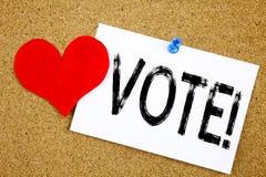 Ispirazione concettuale di titolo del testo di scrittura della mano che mostra concetto di voto per il voto voto elettorale e del Fotografia Stock