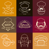 Ispirazione di logo per il ristorante o il caffè Vector l'illustrazione, elementi grafici editabili per progettazione Immagini Stock
