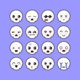 Ispirazione di progettazione di insieme dell'emoticon del cranio illustrazione vettoriale