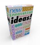 Ispirazione innovatrice di concetto di lampo di genio della scatola del prodotto di idee Fotografia Stock Libera da Diritti