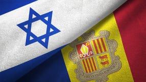 Israël en Andorra twee vlaggen textieldoek, stoffentextuur royalty-vrije illustratie