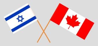 Israël en Canada De Israëlische en Canadese vlaggen Officiële kleuren Correct aandeel Vector vector illustratie