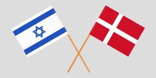 Israël en Denemarken Israëlische en Deense vlaggen Officiële kleuren Correct aandeel Vector royalty-vrije illustratie