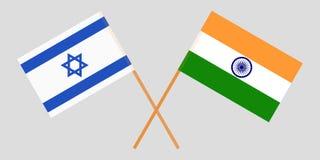 Israël en India Israëlische en Indische vlaggen Officiële kleuren Correct aandeel Vector royalty-vrije illustratie