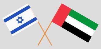 Israël en Verenigde Arabische Emiraten De Israëlische vlaggen van de V.A.E Officiële kleuren Correct aandeel Vector stock illustratie