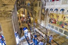 Israël - Jeruzalem - Binnenland van Heilige Grafgewelfkerk met Ston Royalty-vrije Stock Fotografie