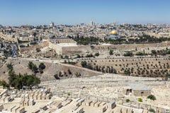 Israël, Jeruzalem, 09/11/2016 Mooie mening van de oude stad in Jeruzalem op een heldere zonnige dag stock foto's