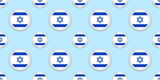 Israël om vlag naadloos patroon Israëlische achtergrond Vectorcirkelpictogrammen Geometrische symbolenstickers Textuur voor sport vector illustratie