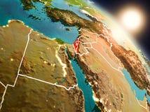 Israël van ruimte tijdens zonsopgang Royalty-vrije Stock Foto's