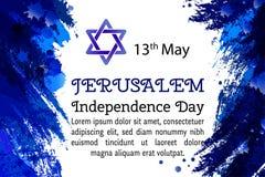 Israël 70 verjaardag, de Onafhankelijkheidsdag van Jeruzalem, feestelijke groetaffiche, Joodse Vakantie, de banner Israëliër van  stock illustratie