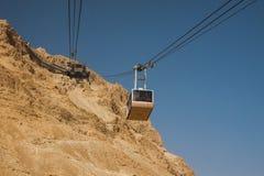 Israël - Zuiden - Masada - het Luchtropeway vervoer gaat van Masa Stock Foto