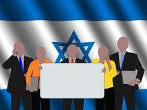 Israëlisch commercieel team met vlag Stock Fotografie