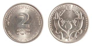 2 Israëlisch Nieuw Sheqel-muntstuk Royalty-vrije Stock Foto's