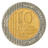 10 Israëlisch Nieuw Sheqel-muntstuk Stock Fotografie