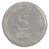 5 Israëlisch Nieuw Sheqel-muntstuk Stock Afbeeldingen