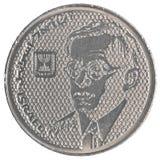 100 Israëlisch oud Sheqels-muntstuk - Zeev Jabotinsky Stock Foto's