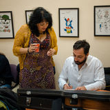 Israëlische actoren bij een coulisse van Jiddisch Fest Royalty-vrije Stock Fotografie