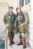 Israëlische militairen IDF in Jeruzalem Royalty-vrije Stock Fotografie