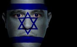 Israëlische Vlag - Mannelijk Gezicht Royalty-vrije Stock Afbeelding