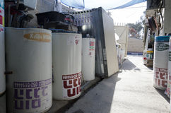 Israel öl-Sheva - nya sol- vattenvärmeapparater i materiel Arkivfoto