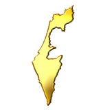 Israel 3d Golden Map Stock Images
