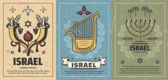 Israel affischer med kultur- eller religionsymboler stock illustrationer