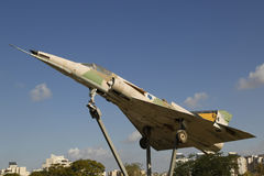 Israel Air Force Kfir C2 fighter jet on a traffic circle in Beer Sheva Stock Images