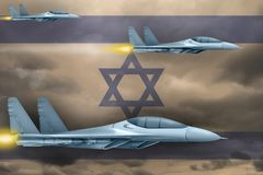 Israel air forces strike concept. Air planes attack on Israel flag background. 3d Illustration. Israel air strike concept. Modern war airplanes attack on Israel Stock Images