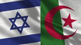 Israel and Algeria Flag - Two Flag Together. Realistic wave with flags stock photo