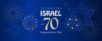 Israel 70 anniversary, Independence Day. Calligraphy text festive greeting poster, Jewish Holiday, Jerusalem banner with Israeli blue star, fireworks, vector Stock Photography