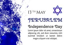 Israel 70 anniversary, Jerusalem Independence Day, festive greeting poster, Jewish Holiday, Jerusalem banner Israeli. Blue star, vector modern concept. Design Royalty Free Stock Photography