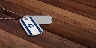 Israel armébegrepp, etiketter för Israel flaggaID på träbakgrund illustration 3d stock illustrationer