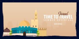 Israel Banner Heure de se déplacer Voyage, voyage et vacances Illustration plate de vecteur Photo stock