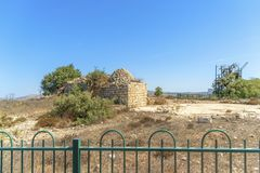Israel Bethel Mening van officieel geïdentificeerde vlek de Rots van Jacobs-droom in Bethel zoals die in ontstaan 28-12-19 in oud royalty-vrije stock foto's