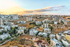 Israel Bethlehem, vista de um ponto de vista alto em Bethlehem no nascer do sol fotos de stock royalty free