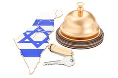 Israel booking concept. Israeli flag with hotel key and receptio. N bell, 3D Stock Photo