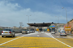 Israel Border Police checkpoint to Jerusalem. JERUSALEM - MAR 19 2015:Israel Border Police checkpoint to Jerusalem from Maale adumim. The barrier erected by the Stock Images