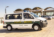 Israel Border Police Vehicle. A vehicle of Israel border police parking next to the Kotel Royalty Free Stock Photos