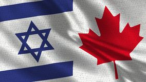 Israel and Canada Flag - Two Flag Together. Realistic wave with flags stock image