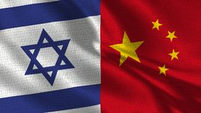 Israel and China Flag - Two Flags Together. Realistic wave with flags royalty free stock images