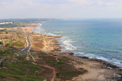 Israel Coast Rosh HaNikra towards Nahariya. Overview of the coast in the most north west tip of Israel near the Lebanon border Royalty Free Stock Photo