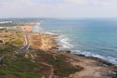 Israel Coast Rosh HaNikra verso Nahariya Fotografia Stock Libera da Diritti