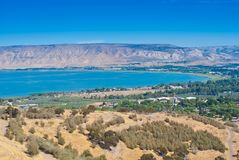 Israel. The coast of the sea of Galilee of Galilee lake royalty free stock photos